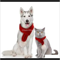 Apparel Supplies Home & Gardennacoco Christmas Dog Knitted Scarf With White Pompom Warm Bandana Winter Holiday Pet Aessories Cat Scarves For