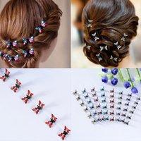 12pcs / confezione crystal strass farfalla capelli artiglio per capelli accessori per capelli ornamenti clip per capelli raccoglitori barrette per bambini ragazza