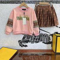 مصمم الاطفال الوردي مقنع + تنانير مجموعات الأطفال الخريف البلوزات رياضية ملابس طويلة الأكمام ff مجموعة الفتيات الرياضية ارتداء حجم 110-160