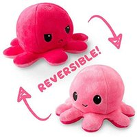 Festive Party Flip Octopus Stuffed Plush Toys For Children Cute Angry Smile Emotion Reversable Animal Doll Kids Gift Wholesale