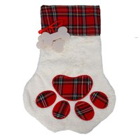 Moda de Natal Cat Cat Paw Meias Fluffy Santa Meias Snowflake Xmas Decoração Decoração Festival Saco OWD9356
