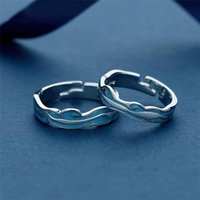 Cluster Rings Sole Memory Blue Drop Glaze Wave Couple Ring Sweet Romantic 925 Sterling Silver Female Resizable Opening SRI454