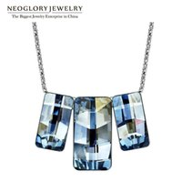 Neoglory Jewelry Swarovski Crystal Pendants for Women Shinning Blue Shadow Squares Necklaces For Party 2020 Gifts