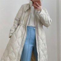 OFTBUY 2021 New 90%White Duck Down Winter Jacket Women Belt X-Long Coat Thick Warm Luxury Outerwear Fashion Overcoat Streetwear