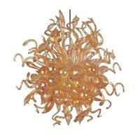 Светодиодный золотой кулон светло современный домашний художественный оформление цветочные лампы ручной вручную муранской стеклянной люстры 28 на 32 дюйма