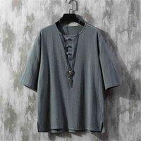 Vento chinês restaurando maneiras antigas botão solto algodão e linho homens lazer jóia 210716