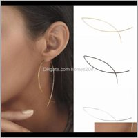 Jewelrypair Cool Punk Simple Geometric Curved Line Alloy Women Lady Club Earrings Hoop & Hie Drop Delivery 2021 6Fitr