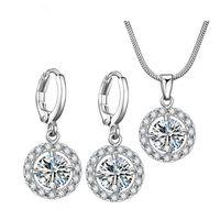 Designer Necklace Hip hop Bridal jewelry simple micro inlaid crystal zircon jewelry two piece full Diamond Earring Set wholesale Jewelry Bracelet Designer Rings