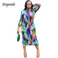 Casual Dresses Stigende Long Sleeve Tie Dye Print Mesh Dress Women Fashion Bodycon Stretch Sexy Patchwork See Through Club