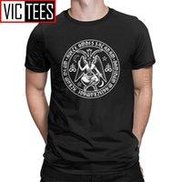 Baphomet Crosses satanic con granizo Satanás Tshirt Hombre Algodón de hombre Camiseta divertida Lucifer Devil Witchcraft S 210420