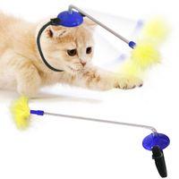 Mains de jouets de chat interactif mains libres Baguette de bâtonnette avec des jeux de plumes Goods Fidget Toys pour les accessoires de chat Kitty chat