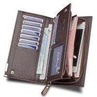 Wallets 2021 Men's Wallet Long Mens Leather Luxury Designer Card Holder Male Purse Wristlet Clutch Large Capacity For Men