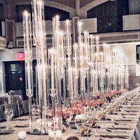 Ljushållare Bröllop Centerpiece Tall Akrylrör Crystal Hurricane Candelabra för bordsstativ med lampskärm Yudao98