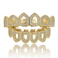 Mens Hip Hop Grillz 2-piece set Luxury Bling Zircon Teeth Braces Fashion 18K Gold Rhodium Plated Geometric Hollow Out Dental Grills