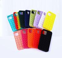Pop it fidget pops 3D Decompression Phone Cases For Iphone 12 Mini Pro 11 XR XS MAX X 10 8 7 Plus Push Soft Silicone Rainbow