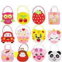 القماش حمل حقيبة غير المنسوجة الأطفال لعبة دليل diy لصق المواد إنتاج المواد الطفل الخياطة اليد