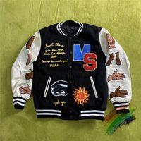Denim jaqueta de beisebol homens mulheres 1 qualidade casaco de manga bordado jaquetas