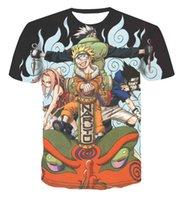Yaz Naruto Rüzgar Yuvarlak Boyun T-shirt Dijital Baskı 3D Animasyon Mesh Kısa Kol