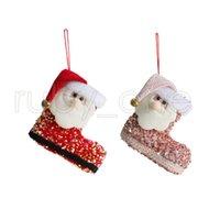 Presente de Natal Saca Papai Noel Bonito Lantejoulas Lantejoulas Botas Tridimensionais Doces Peúgas de Natal Decoração de Árvore Pingente RRA4426