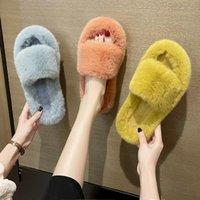 Slippers Platform Home Faux Fur Warm Shoes Woman Winter For Women 3cm Heel Female Slides Plus Size 42