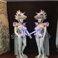 Party Dekoration AS98 Ballsaal-Tanz-LED-Licht-Kostüme Leuchtroboter-Rüstung Headwear-Bühnenleistung trägt Bodysuit-Käppchen-DJ-Männer-BH