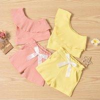 Bebek Giyim Setleri Kız Kolsuz Şerit Çukur Çiçek Mayo + Şort Takım Elbise Bir Omuz Fırfır Çiçek Mayo Beachwear 2 adet / takım ZYY1023