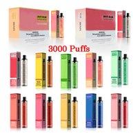 Otantik Süper Mega Hotbar Tek Kullanımlık Vape 3000Puffs Elektronik Sigara 1300 mAh Pil 9 ml Pod 10 Renkler vs Puff Flex XXL Kenar