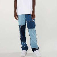 JeansMen Wash Splice Casual Straight Flower Patchwork jeans Men's Mode Streetwear Losse Hip Hop Denim Full Length Broek