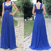 Sexy Royal Blue Prom Dresses Pleats Chiffon Evening Gown Off shoulder with Beading Long Formal Dress New Arrival