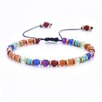 Cumpleaños 4mm siete chakra pulsera con cuentas bohemio pieza de cobre joyería color trenzado brazalete