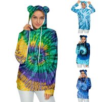 Hoodie Men And Women Fashion Trend Tie-dye Cat Ears Hooded Long-sleeved Pullover Adult Sweatshrit Ladies Clothing Chandail C50 Women's Hoodi