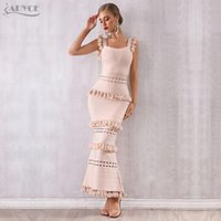 Casual Dresses Adyce 2021 Summer Women Maxi Hollow Out Bandage Dress Sexy Sleeveless Tassel Club Fringe Celebrity Evening Party