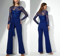 Elegant Lace Pant Suits Sheer Jewel Long Sleeves Mother of the Bride Dress Evening Prom Jumpsuit Formal Wedding Guest Gowns
