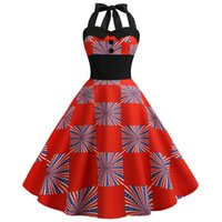 Sagace Dresses For Women 2021 American Flag Print Vintage Dress Evening Party Prom Swing Button Halter Hepburn Robes Casual