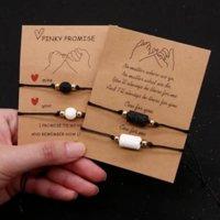 Freundschaftskarte Zwei Stück Schmuck Set Sonnenblume Herz Glücksseil Handgemachtes Paar Armband Armreif