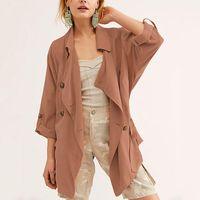 Women's Jackets Autumn Short Trench Coat Women Casual Loose Windbreaker Asymmetric Button Drawstring Slim Waist Overcoats W219