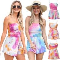 Summer Beach Spiaggia Tuta Breve Donne Senza Maniche Strappy Halter Playsuits Ladies Tie-Dye Cami Belt Pagliaccetto Tute Zyy982