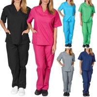 Women's Pants & Capris Solid Color Unisex Men Women Short Sleeve V Neck Nurses Scrubs Tops+Pants Nursing Working Uniform Set Suit Health Ser1