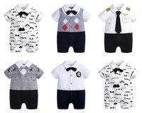 赤ちゃんの男の子ロンパース紳士新生児の蝶ネクタイプリンセスジャンプスーツ服幼児ブティックボディ服子供の半袖夏の片方ボディスーツ