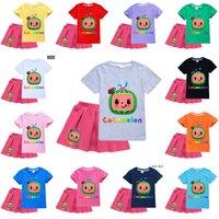 100-170cm crianças meninas designers verão camiseta cocomelon saia dos desenhos animados vestido conjunto de camisa de suor e saias curtas saias sportswear 2piece outfit tracksuit g49o9qy