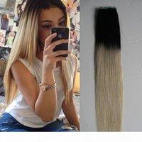 40 Stück Ombre Klebeband in Haarverlängerungen 2,5g pro Stück 100% Echt Remy Remy Gerade Unsichtbare Haut Schuss Klebeband auf Haarverlängerungen