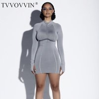 Cotton Plus Size White Club Dresses Women Full Sleeve Zippers Bodycon Mini Vestidos Ladies Clothing Tight Knitting Outfit L9 Casual