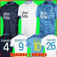 20 21 Olympique de Marseille Futebol Jerseys 2020 2021 OM Cuisca Maillot de pé Cuidado Benedetto Kamara Camisa de Futebol Thauvin Payet