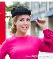 Schaduw 100% wol fascinator winter elegante vrouwen pillenbox hoed zwart vilt rode dames bruiloft baret hoeden strik Kentucky Derby Fedoras