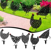 Chicken Yard Art Garden Decorations Statues Backyard Lawn Stakes Acrylic Hen Yards Decor Gift Gardens Decoration Outdoor Ornaments OOD6393