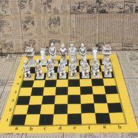 Antico scacchi in terracotta esercito grande scacchi pezzi scacchiera in pelle in terracotta resina peggiori pezzi di modellazione del carattere regali