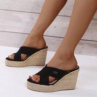 Sandals Summer Suede Open-toe Wedges Women's Korean Thin Sexy High-heeled Shoes Casual Outdoor Beach Flat Bottom