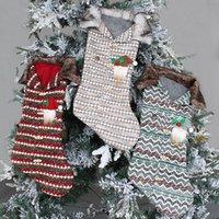Delicado lindo tejido de navidad Muñeco de nieve Snowman Santa Claus Elk Bear Socks Candy Regalo Bolsa Soporte Chimenea Navidad Árbol Decoración GWF9002