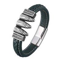 Bracelete de corda de couro verde vintage para homens ímã de aço inoxidável fecho pulgente punk macho faixa de pulso jóias presente sp0905 encanto brace bracel