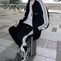 Privhicker Mens Светоотражающая полоса Спортивный костюм 2021 Мода Повседневная Невазительный Человек Костюмы Корейский уличный Одежда Мужской Одежда